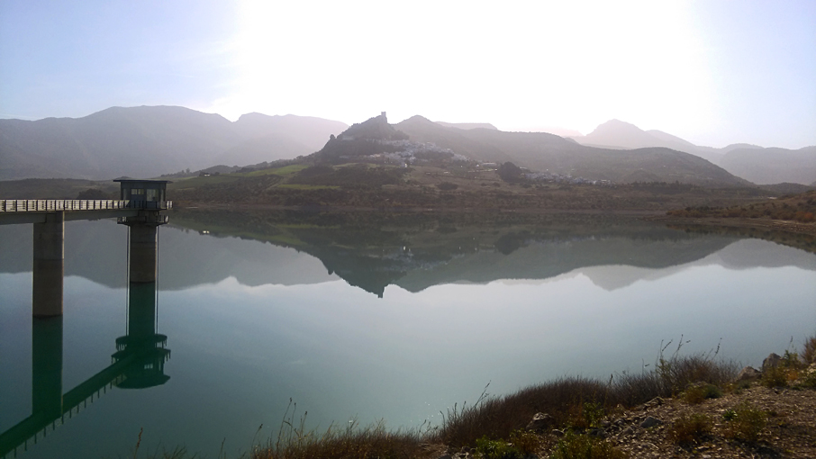 Lake with Zahara village in the mountains