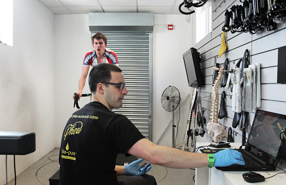 Alex crunching the data at Bike Science ramp test in Bristol