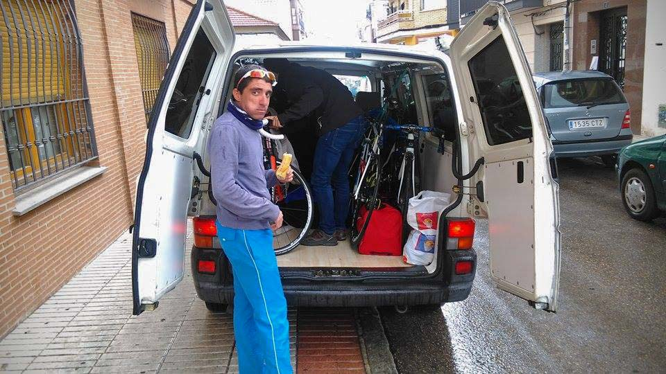 Loading the team van before the drive