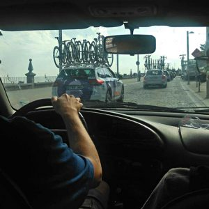 In the Pizzeria Espanola team car at the Vuelta Segovia